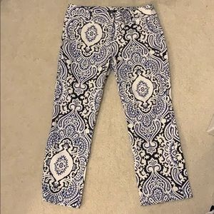 JCrew printed stretch cropped pants